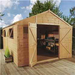 12ft x 10ft Deluxe Tongue and Groove Wooden Garden Workshop With 4 Windows And Double Doors (12mm Tongue and Groove Floor and Roof) - 48HR + SAT Delivery*