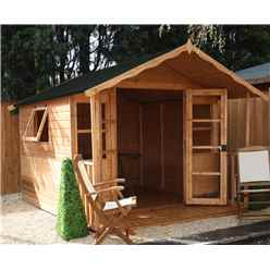 10ft x 8ft Premier Wooden Garden Summerhouse (12mm Tongue and Groove Floor + Roof) - 48HR + SAT Delivery*