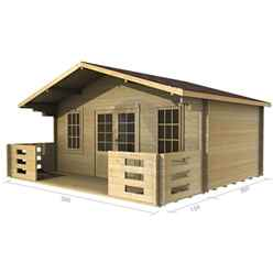 5m x 3m (16ft x 10ft) Log Cabin (2089) - Double Glazing (34mm Wall Thickness)