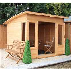 8ft x 8ft Premier Curved Pent Wooden Garden Summerhouse (12mm Tongue and Groove Floor and Roof) - 48HR + SAT Delivery*