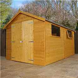 12ft x 8ft Deluxe Wooden Garden Workshop With 2 Windows And Double Doors (12mm Tongue and Groove Floor and Roof) - 48HR + SAT Delivery*