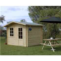 3m x 2.4m Premier Apex Log Cabin (Single Glazing) + Free Floor & Felt & Safety Glass (28mm)