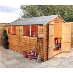 10ft x 8ft Value Wooden Overlap Apex Garden Shed With 4 Windows And Double Doors (10mm Solid OSB Floor) - 48HR + SAT Delivery*