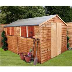 12ft x 8ft Value Wooden Overlap Apex Garden Shed With 4 Windows And Double Doors (10mm Solid OSB Floor) - 48HR + SAT Delivery*