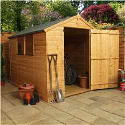 8ft x 6ft Tongue and Groove Garden Apex Garden Shed With 2 Windows And Large Single Door (Solid 10mm OSB Floor) - 48HR + SAT Delivery*