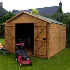 12ft x 8ft Deluxe Windowless Tongue and Groove Wooden Garden Workshop with Double Doors (12mm Tongue and Groove Floor and Roof) ***Extended Delivery Typically 14 Working Days As Treated As Special***