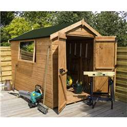 6ft x 6ft Premier Wooden Tongue and Groove Apex Garden Shed With 1 Window And Double Doors (12mm Tongue and Groove Floor and Roof) - 48HR + SAT Delivery*