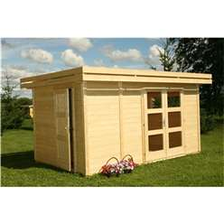 4m x 2.5m KIVALINA Log Cabin (with adjustable Internal Wall) - 28mm Wall Thickness