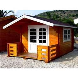 10ft x 10ft (3m x 3m + 1.3m Veranda) EMMONAK Log Cabin + Free Verandah - 44mm Wall Thickness