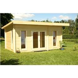5m x 3m CHEVAK OPEN Log Cabin + FREE FELT ***'NO PARTITION*** - 44mm Wall Thickness