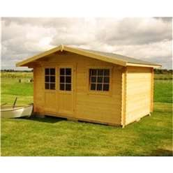 13ft x 10ft (4m x 3m) LARSEN TRADITIONAL Log Cabin - 44mm Wall Thickness