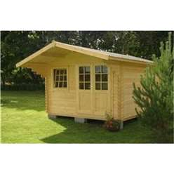 12ft x 10ft (3.6m x 3m) LARSEN TRADITIONAL Log Cabin - 44mm Wall Thickness