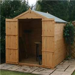 6ft x 6ft Tongue and Groove Wooden Apex Windowless Garden Shed With Double Doors (Solid 10mm OSB Floor) - 48HR + SAT Delivery*