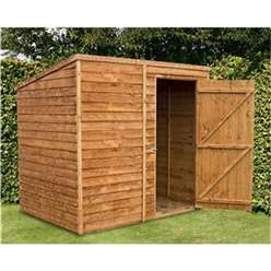 7ft x 5ft Windowless Value Overlap Pent Shed with Single Door (10mm Solid OSB Floor) ***extended Delivery Typically 14 Working Days As Treated As Special - Please See Product Page For More Info