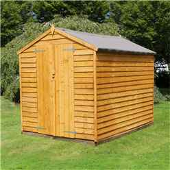 8ft x 6ft Windowless Value Overlap Apex Wooden Shed With Double Doors (Solid 10mm OSB Floor) - 48HR + SAT Delivery*