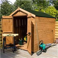 8 x 6 Windowless Premier Tongue and Groove Double Door Apex Wooden Garden Shed (12mm Tongue and Groove Floor and Roof) ***extended Delivery Typically 14 Working Days As Treated As Special