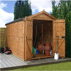10ft x 6ft Windowless Premier Tongue and Groove Apex Wooden Garden Shed with Double Doors (12mm Tongue and Groove Floor) ***extended Delivery Typically 14 Working Days As Treated As Special