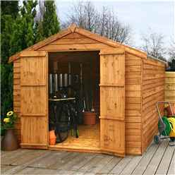 12ft x 8ft Windowless Value Overlap Apex Wooden Shed With Double Doors (10mm Solid OSB Floor) - 48HR + SAT Delivery*