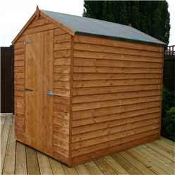 7ft x 5ft Windowless Value Overlap Apex Wooden Shed with Single Door (10mm Solid OSB Floor) - 48HR + SAT Delivery*