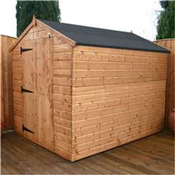 8ft x 6ft Windowless Tongue and Groove Apex Wooden Garden Shed With Large Door (solid 10mm OSB Floor) ***extended Delivery Typically 14 Working Days As Treated As Special