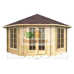 4.5m x 4.5m (15ft x 15ft) Log Cabin (2082) - Double Glazing (34mm Wall Thickness)