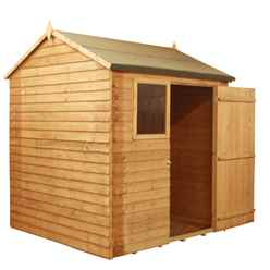 6ft x 6ft Value Reverse Wooden Overlap Apex Shed With 1 Window And Single Door (10mm Solid OSB Floor) - 48HR + SAT Delivery*