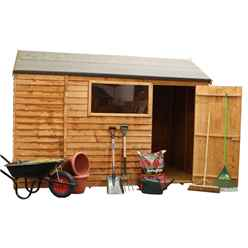 6ft x 10ft Value Reverse Wooden Overlap Apex Shed With 1 Window And Single Door (10mm Solid OSB Floor) - 48HR + SAT Delivery*
