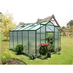 10ft x 8ft Eazi Click Green Greenhouse with Higher Ridge Height + FREE BASE