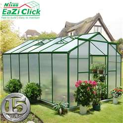 12ft x 8ft Eazi Click PREMIER Green Greenhouse with Higher Ridge Height + FREE BASE