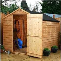 8ft x 6ft Buckingham Value Wooden Windowless Overlap Apex Garden Shed With Single Door (10mm OSB Floor) - 48HR + SAT Delivery*