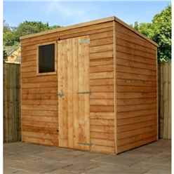 7ft x 5ft Buckingham Value Wooden Overlap Pent Wooden Garden Shed With 1 Window And Single Door (10mm Solid OSB Floor) - 48HR + SAT Delivery*