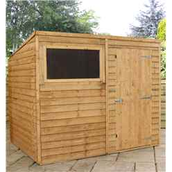 8ft x 6ft Buckingham Value Overlap Pent Wooden Garden Shed With 1 Window And Single Door (Solid 10mm OSB Floor) - 48HR + SAT Delivery*
