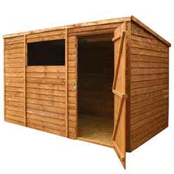 10ft x 6ft Buckingham Value Overlap Pent Wooden Garden Shed With 1 Window And Single Door (10mm Solid OSB Floor) - 48HR + SAT Delivery*