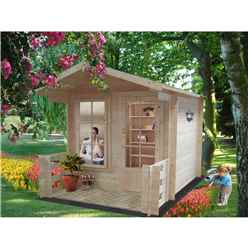 8 x 8 Log Cabin With Fully Glazed Single Door (2.39m x 2.39m) - 19mm Wall Thickness + optional veranda