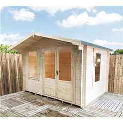 11ft x 8ft Log Cabin With Half Glazed Double Doors (3.29m x 2.39m) - 19mm Wall Thickness