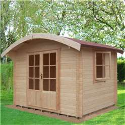 10ft x 8ft Log Cabin With Half Glazed Double Doors (2.99m x 2.39m) - 28mm Wall Thickness