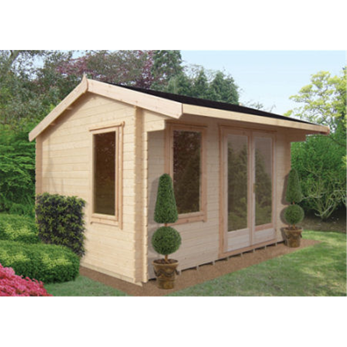 Oakham Log Cabins : 4.19m X 4.79m Log Cabin With Fully Glazed Double . Full resolution  snapshot, nominally Width 1200 Height 1200 pixels, snapshot with #94374B.