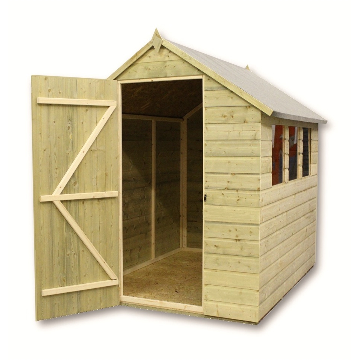 1200 #34250E  Treated Tongue And Groove Apex Shed With 3 Windows And Single Door image Shed Doors And Windows 41331200