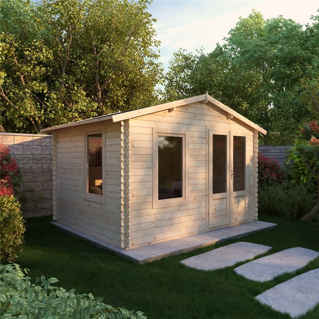 Superb img of Escape Log Cabins : 3.43m x 2.70m Budget Log Cabin (19mm Tongue and  with #956B36 color and 1024x1024 pixels