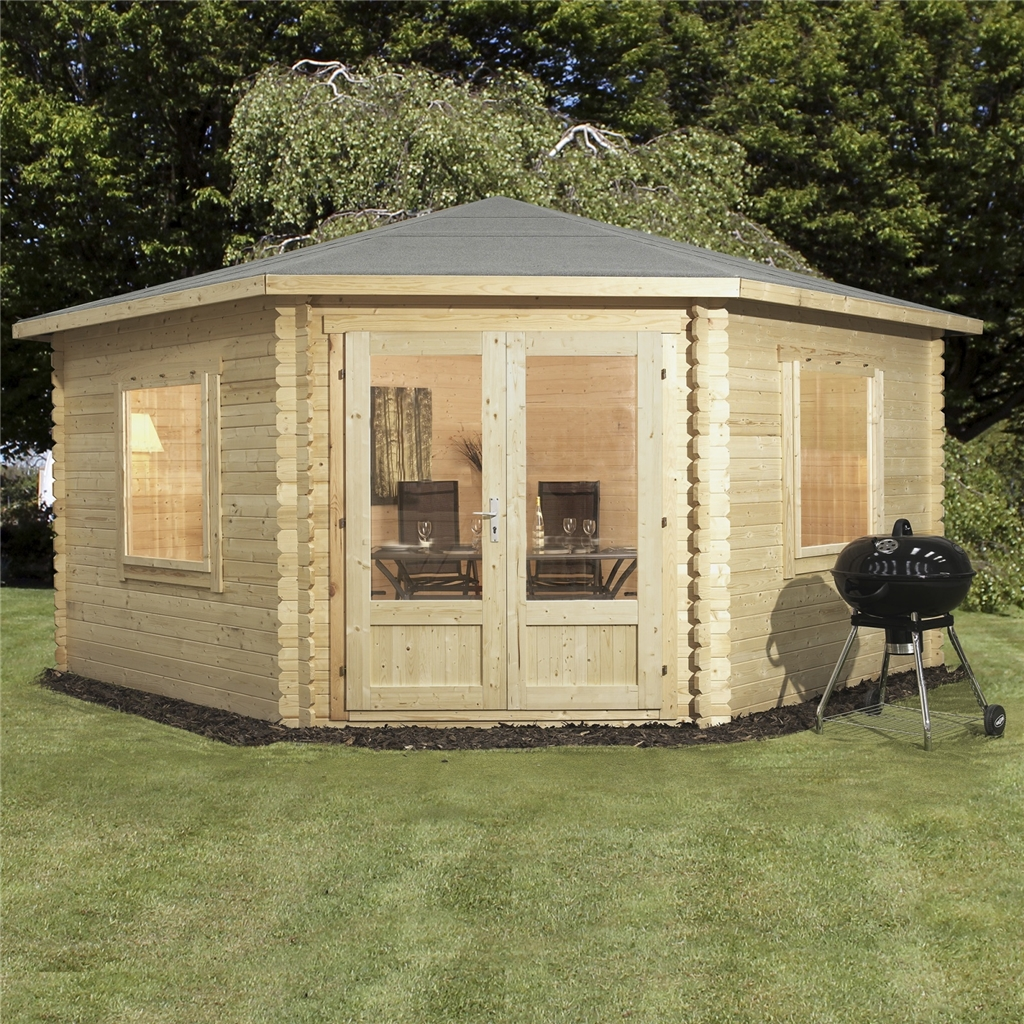 Superb img of Corner Log Cabin Double Glazed with #A37A28 color and 1024x1024 pixels