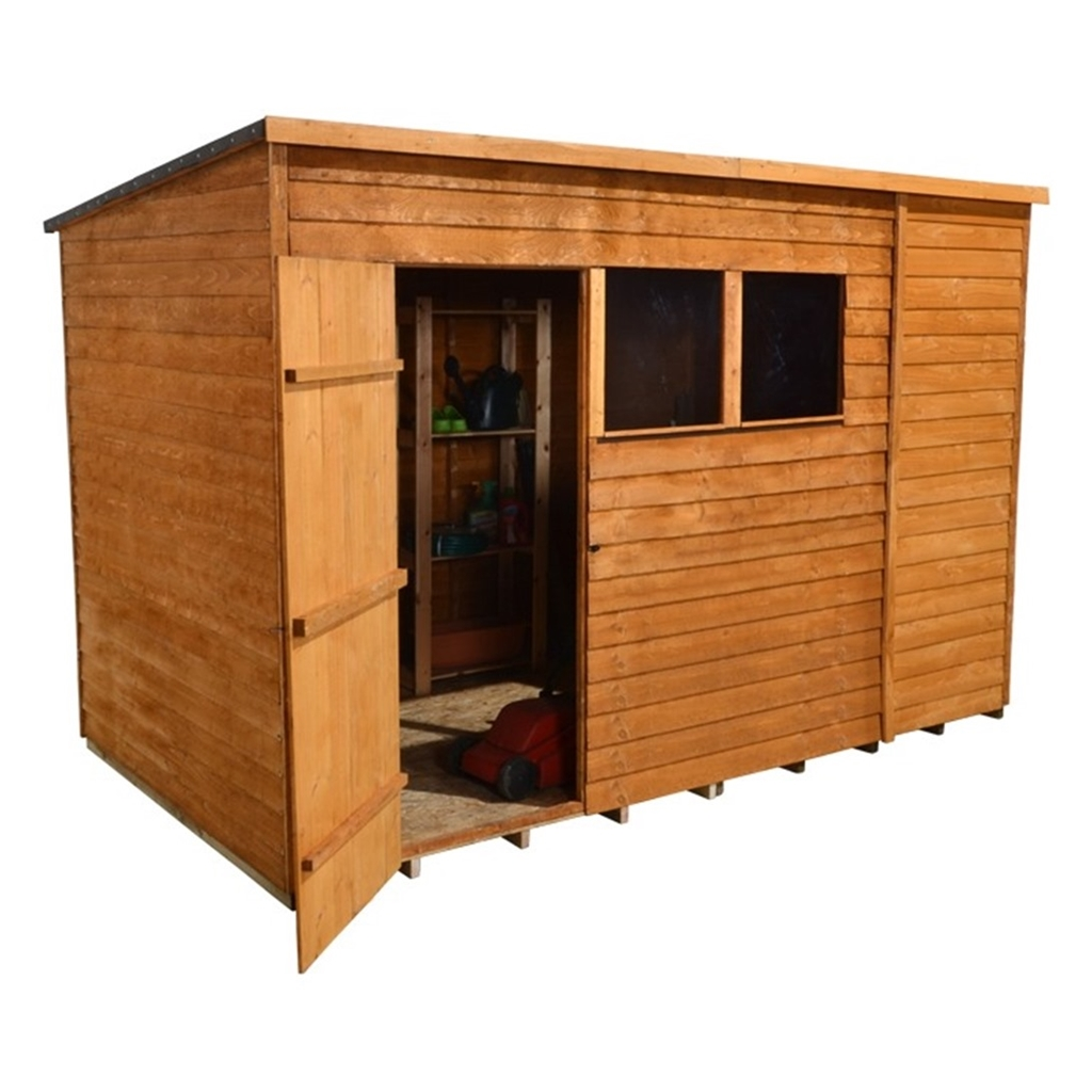 1024 #B0661B  Select Overlap Pent Wooden Garden Shed With 2 Windows And Single Door image Shed Doors And Windows 41331024