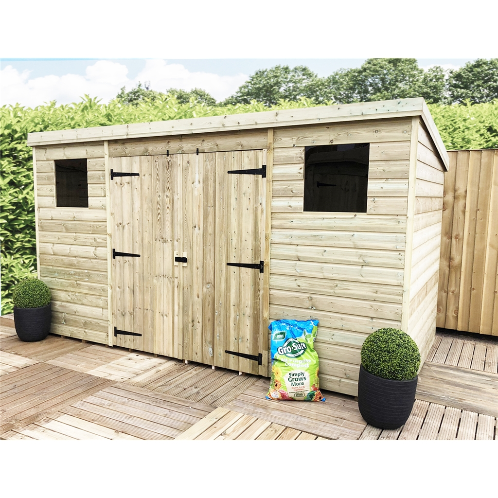 1200 #867745  Tongue And Groove Pent Shed With 2 Windows And Double Doors (Centre image Shed Doors And Windows 41331200