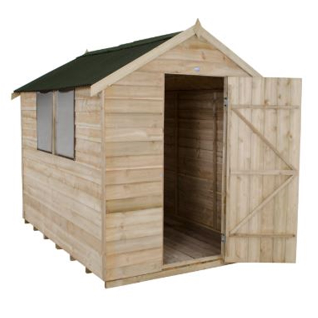 8ft x 6ft pressure treated overlap apex onduline for Apex garden sheds
