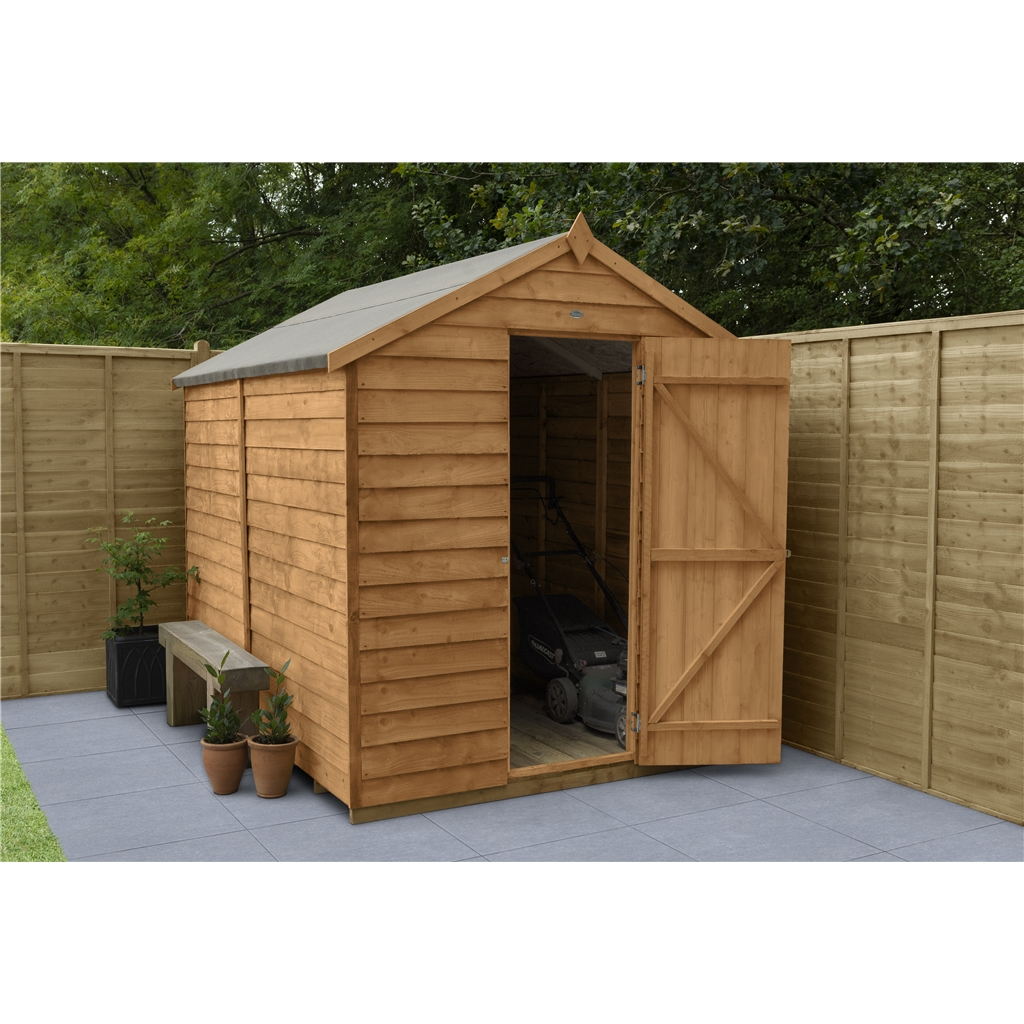 8ft x 6ft security overlap apex wooden garden shed for Garden shed security