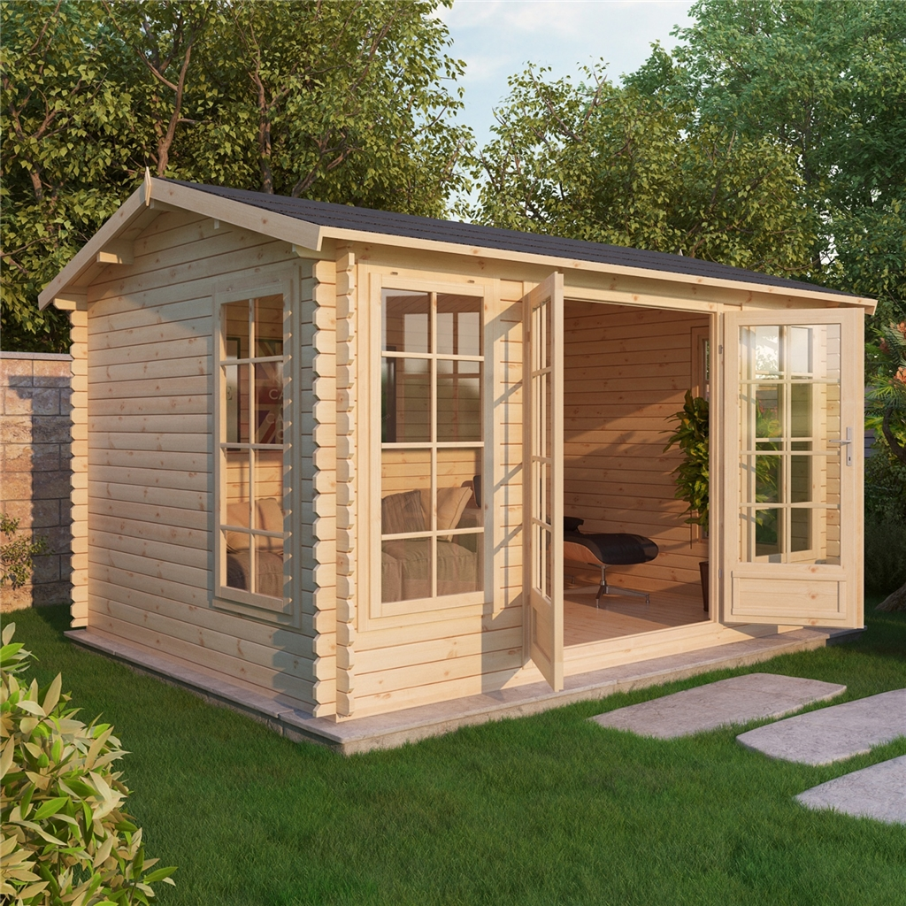Escape Log Cabins : 5m X 4m Premier Home Office Reverse Log Cabin . Full resolution‎  portrait, nominally Width 1024 Height 1024 pixels, portrait with #9D6B2E.