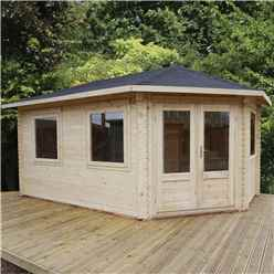 5m x 3m Premier Apex Grande Corner Log Cabin (single Glazing) + Free Floor & Felt & Safety Glass (28mm) - Left Door