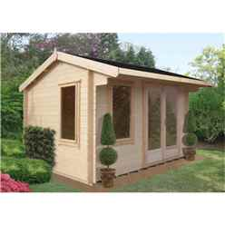 3.59m X 3.59m Log Cabin With Fully Glazed Double Doors - 28mm Wall Thickness