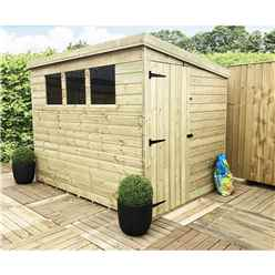 8 x 7 Pressure Treated Tongue And Groove Pent Shed With 3 Windows And Single Door + Safety Toughened Glass