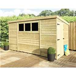 10 x 8 Pressure Treated Tongue And Groove Pent Shed With 3 Windows And Single Side Door + Safety Toughened Glass
