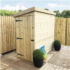 3 x 7 Windowless Pressure Treated Tongue And Groove Pent Shed (Door Panel Sloping Left To Right)
